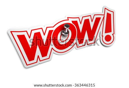 WOW Onomatopoeia, Exclamation Sticker for illustration of surprise or incredible news - stock photo
