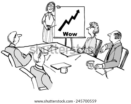 Wow, sales are growing rapidly. - stock photo