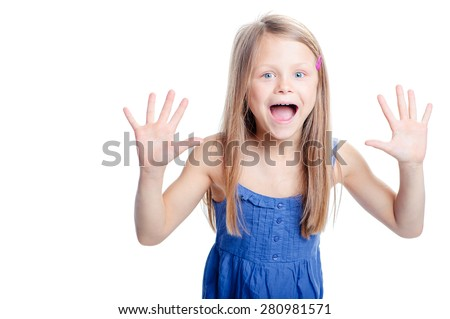 Wow! Studio portrait of excited little girl raised her palms up. Isolated on white. - stock photo