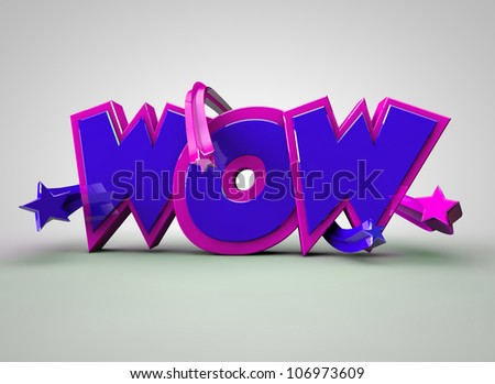 WOW text Blue with stars - stock photo