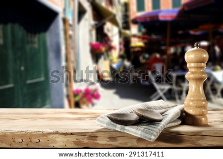wpoons of wood napkin and doors  - stock photo