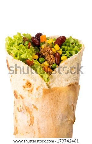 Wrap sandwich with meat and vegetables isolated on white background  - stock photo