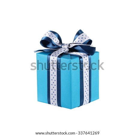 Wrapped blue gift box with ribbon bow, isolated on white