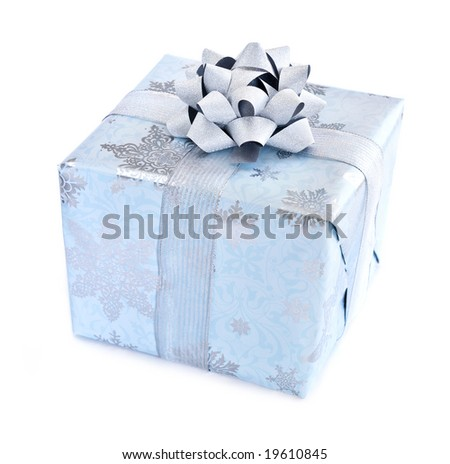 Wrapped christmas gift box isolated on white background - stock photo