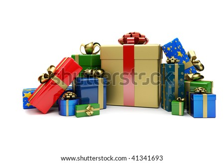 Wrapped christmas presents isolated over a white background - stock photo