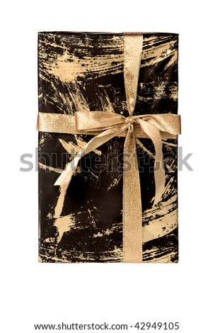 Wrapped gift box tied with golden ribbon, isolated on white.