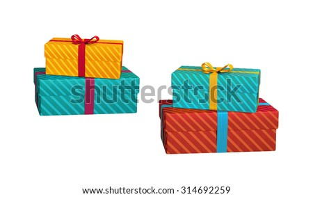 wrapped gift boxes isolated on white background, 3d illustration - stock photo