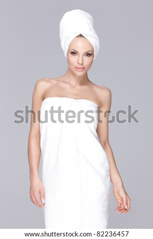 Wrapped in towel - stock photo