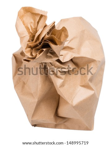 wrapped paper bag from the store is isolated on a white background - stock photo