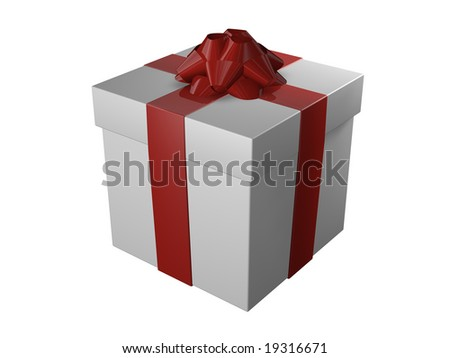 Wrapped Present with Bow on Top - Isolated - stock photo