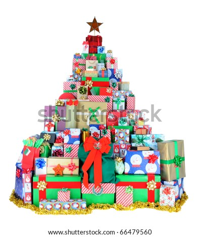 Wrapped presents stacked in the form of a Christmas tree with a star at the top. Gifts of all sizes are arranged over a white background - stock photo