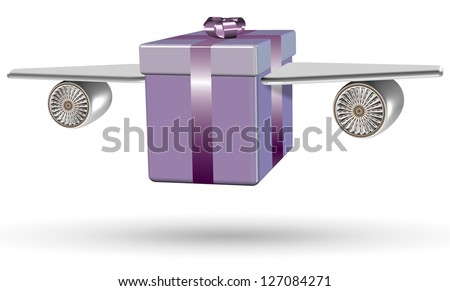 Wrapped purple present box with airplane wings attached to it / Flying present - stock photo
