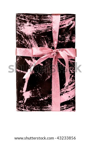 Wrapped romantic gift box with pink ribbon, isolated on white.