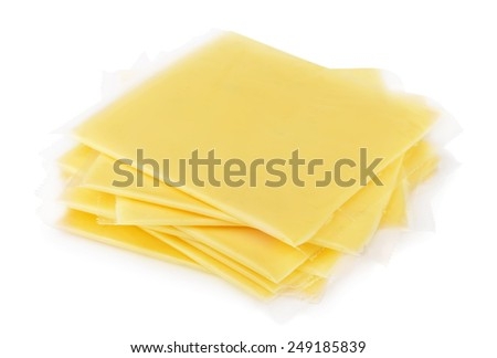 Wrapped sliced cheese isolated on white - stock photo