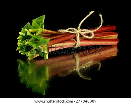 Wrapped with string rhubarb stalks on a black background with reflection      - stock photo