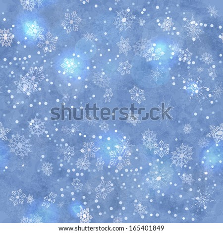 Wrapping Christmas vintage blue paper background with snowflake seamless pattern, subtle grunge texture, bokeh. Holiday winter retro wallpaper backdrop - stock photo