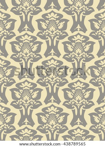Wrapping floral foliage damask seamless wallpaper for website, leaves repeating foliage western drapery, flower organic ivory luxury tiled old revival venetian fashion fabric elegant gray trend - stock photo