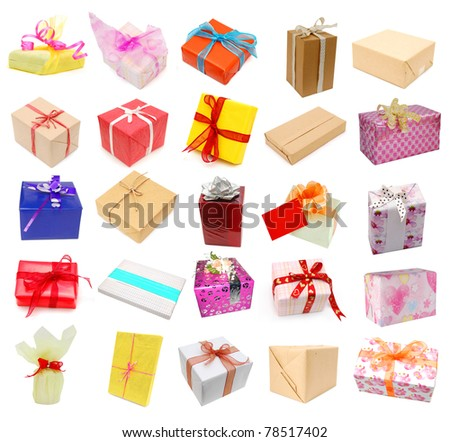 Wrapping gifts on collection - stock photo