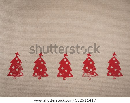 Wrapping paper with motive, red, stamped - stock photo