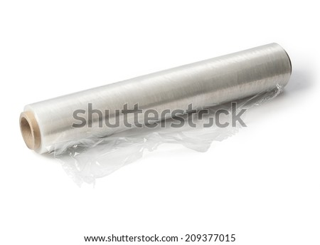 Wrapping plastic stretch film on white  background. With clipping path