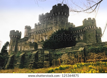 wray castle in the english lake district cumbria - stock photo