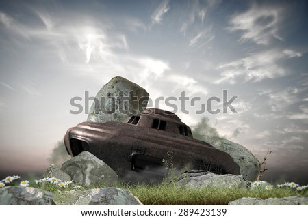 wreakage of an old rusty ufo landed on earth - stock photo