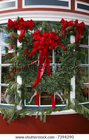 Wreath and Garland in Colonial Williamsburg - stock photo