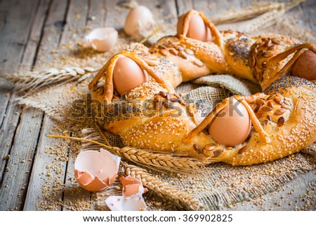 Wreath bread or braided bread for Easter