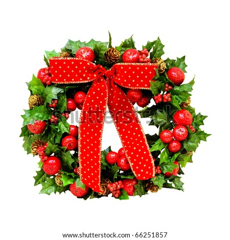Wreath decoration with red bow and clipping path included - stock photo