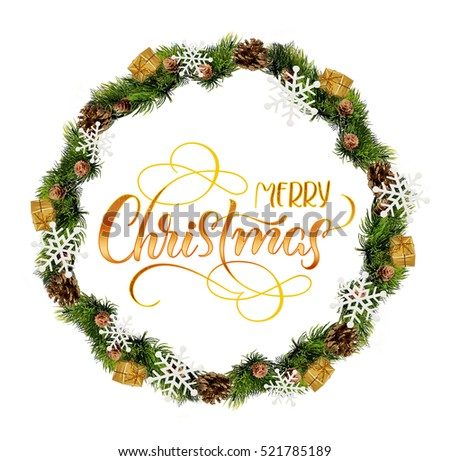 wreath isolated over white background with text Merry Christmas. Calligraphy lettering.