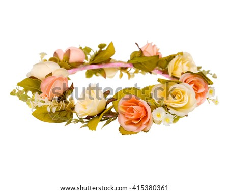wreath of fabric flowers isolated on white background. - stock photo