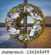 wreath on a door - stock photo