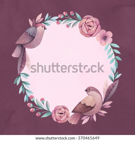 Wreath with birds and flowers. Perfect for greeting card or invitation. Watercolor - stock photo