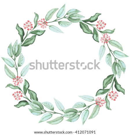 Wreath With Watercolor Green Leaves And Red Berries