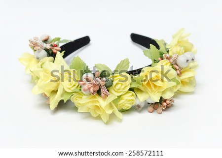 wreath with yellow roses on a white background - stock photo