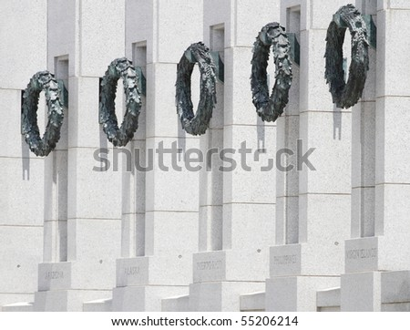 Wreaths at the World War II Memorial in Washington DC - stock photo