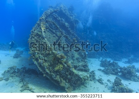 wreck in the Red Sea - stock photo