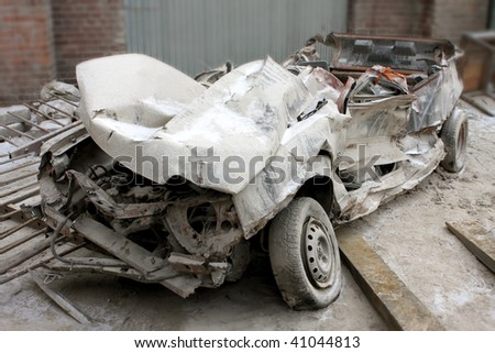 wreck of the car - stock photo
