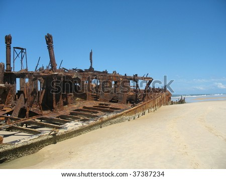 Wreck of the Maheno on Fraser Island - stock photo