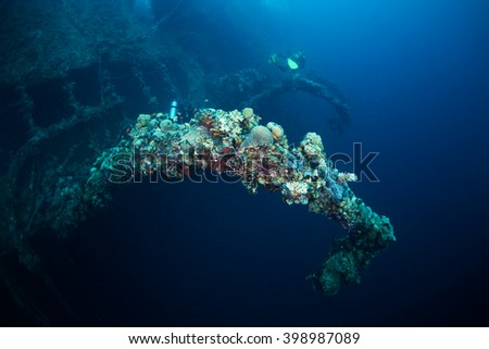 Wreck of Umbria, stubbled during the Second World War, Red Sea, Sudan.