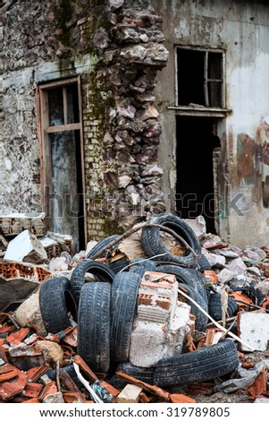 Wreckage Deconstruction Area - stock photo