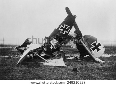 Wreckage of a WW1 German Albatross fighter biplane. 1916-18. Its pilots were advised not to perform steep or prolonged dives because its wings had a tendency to develop wing cracks and fail.