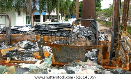 Wreckage of Burnt Truck