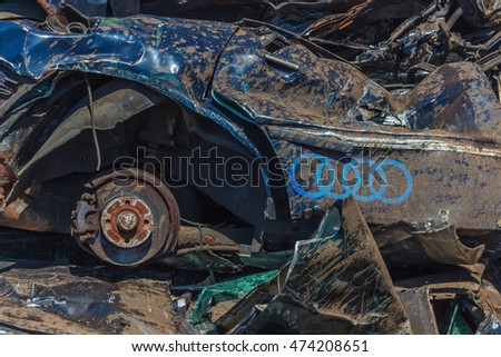 Wrecked Audi,smashed automobile