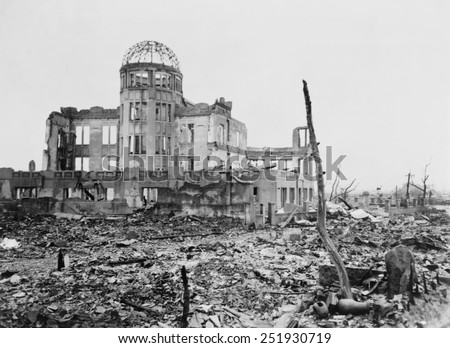 Wrecked framework of the Museum of Science and Industry in Hiroshima, Japan. This is how it appeared shortly after the dropping of the first atomic bomb, on August 6, 1945. - stock photo
