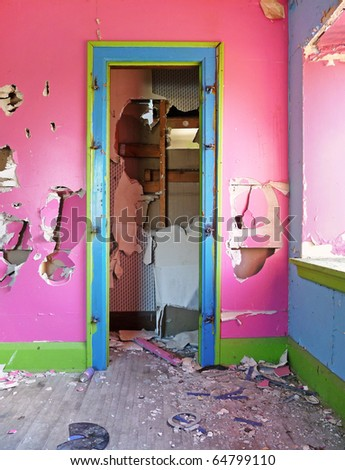 Wrecked interior of abandoned house - stock photo