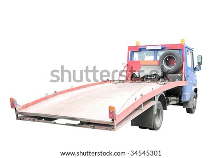 wrecker under the white background - stock photo