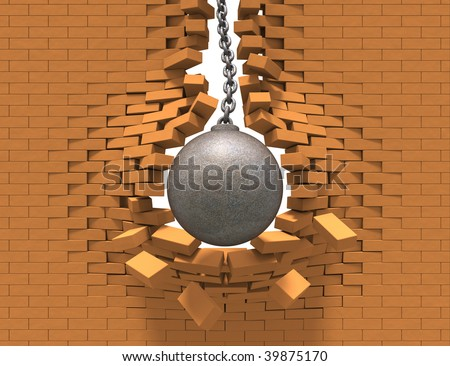 Wrecking ball destroying the brick wall - stock photo