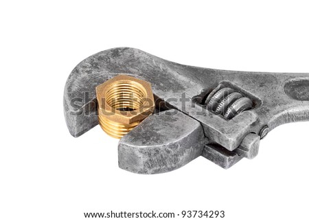 Wrench and plumbing faucet, isolated on white background - stock photo