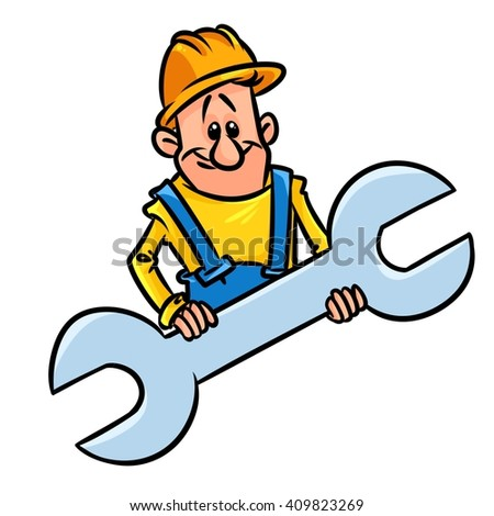 Wrench builder cartoon character illustration